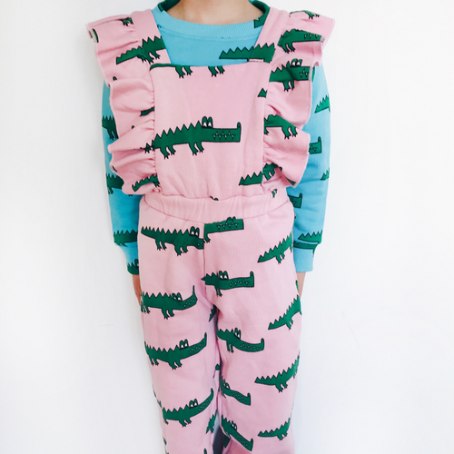 hugo loves tiki pink crocodile ruffled jumpsuit