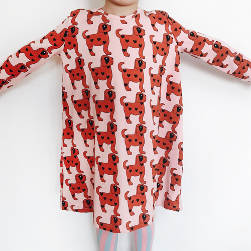 hugo loves tiki red dogs swing dress AW18