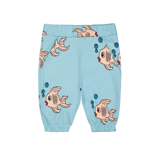 hugo loves tiki knee sweat shorts blue fish