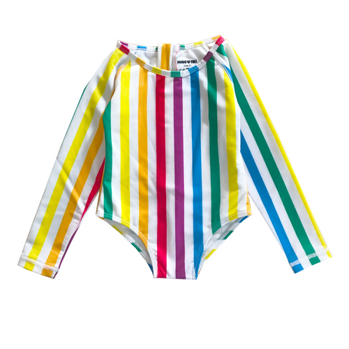 hugo loves tiki surf onesie rainbow stripe