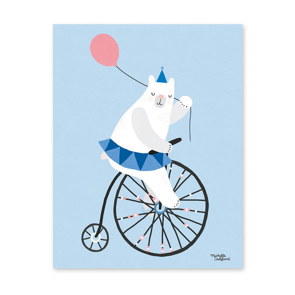 Michelle Carlslund : Affiche Cycling bear bleue - Décoration murale