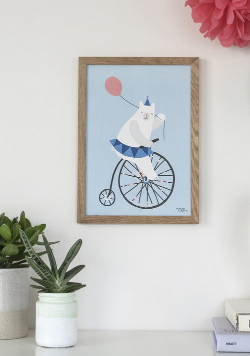 Michelle Carlslund : Blue Cycling Bear poster - Wall Decoration