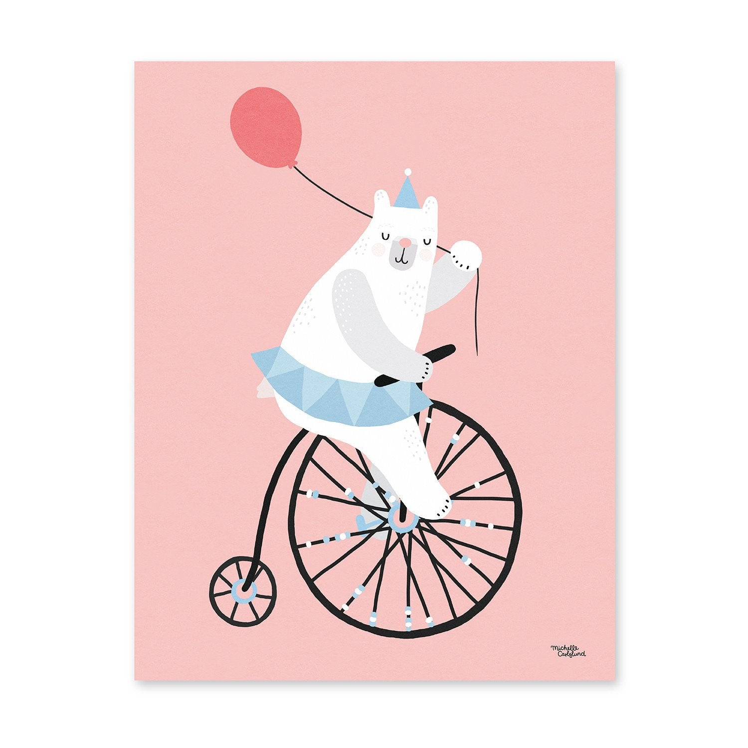 Michelle Carlslund : Affiche Cycling Bear rose - Décoration murale