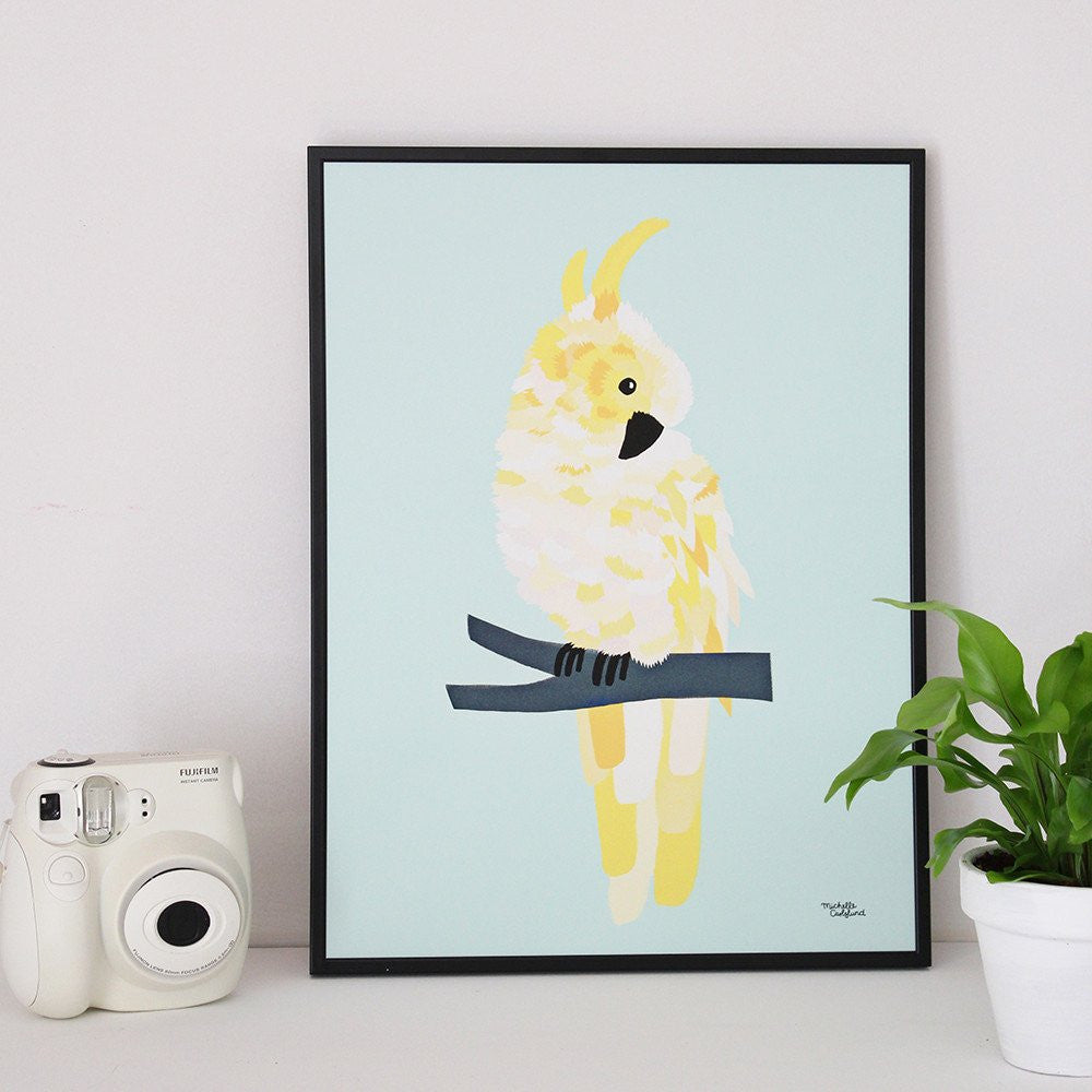 Michelle Carlslund : Yellow parrot poster - Wall decoration