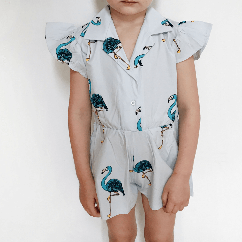Hugo Loves Tiki : Combinaison courte Blue Flamingos - Vêtements enfant