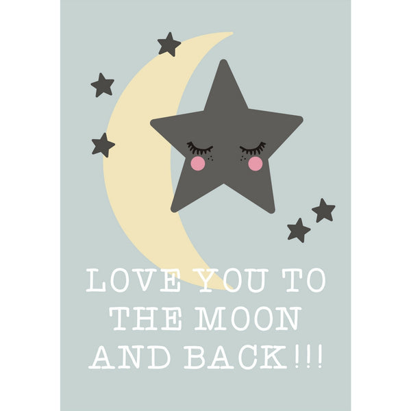 Rose In April : Affiche Love you to the moon and back - Décoration murale