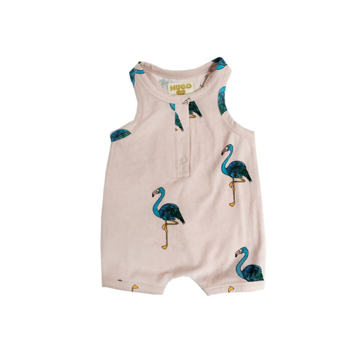 Hugo Loves Tiki : Short leg terry romper pink flamingos - Kids romper