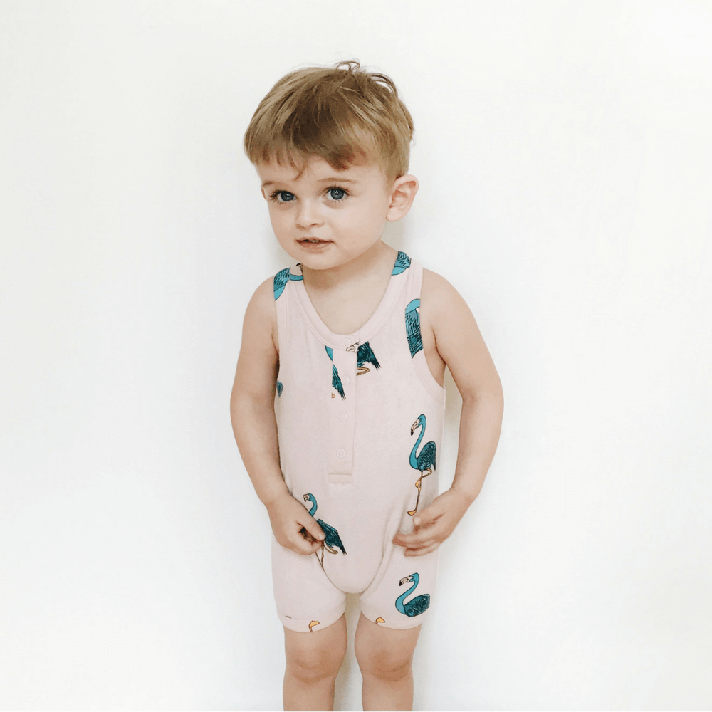 Hugo Loves Tiki : Combinaison courte Pink Flamingos - Vêtements enfant