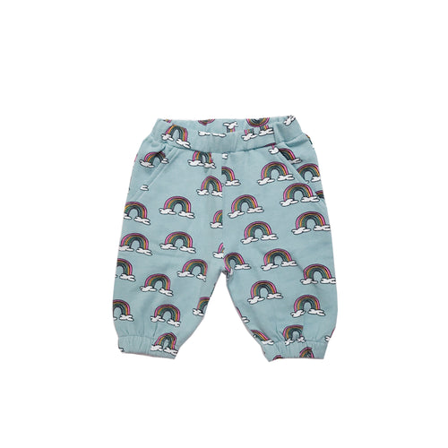 Hugo Loves Tiki : Knee sweatpants Blue Rainbows - Kids clothing