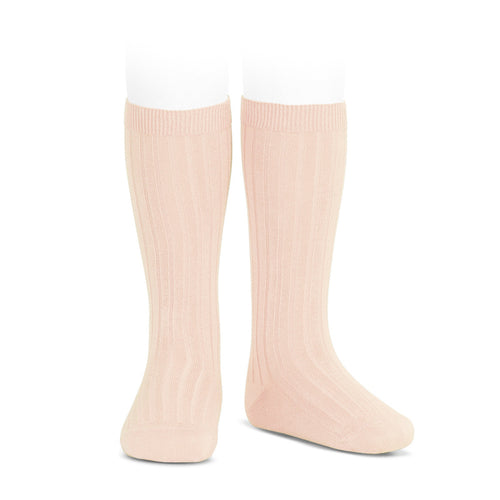 condor wide ribbed cotton knee high socks nude