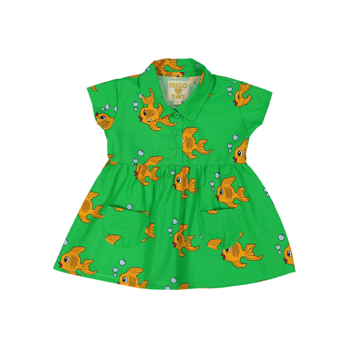hugo loves tiki collared dress - green fish