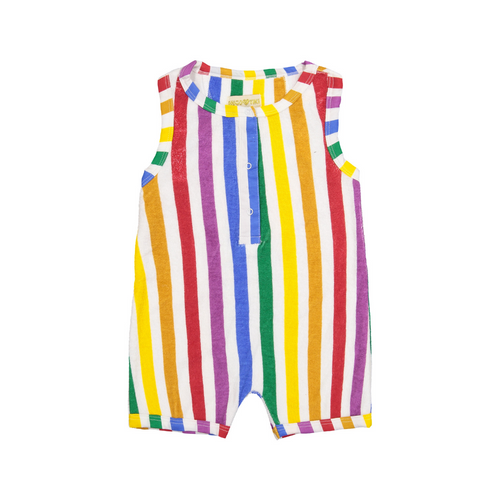 hugo loves tiki short leg terry romper - rainbow stripe