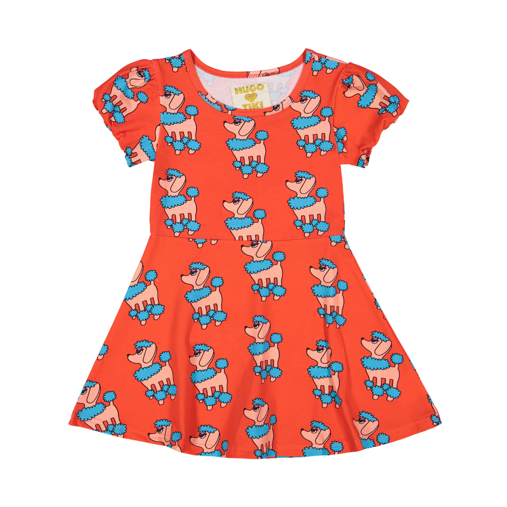 hugo loves tiki skater dress red poodle