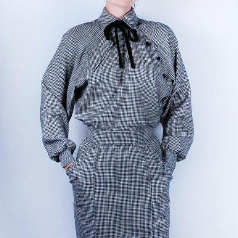 Emanuel Ungaro Houndstooth Wool Dress || Made in Italy