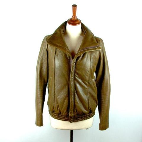 Funnel Neck Leather Jacket by WAYNE, Made in New York, NY - Size Small