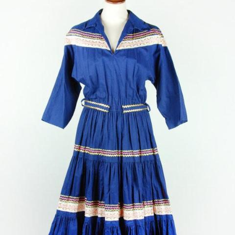 Vintage Blue Fiesta Dress with Pink & Gold Trim