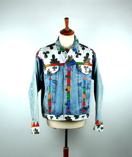Original Hand Painted Denim Jacket By Tavlos, Signed, ONE OF A KIND / Perfect Condition