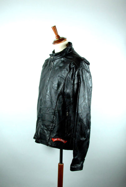 Diamond Plate Buffalo Leather Black Motorcycle Jacket with Great Patches! Size Large - Desert Moss