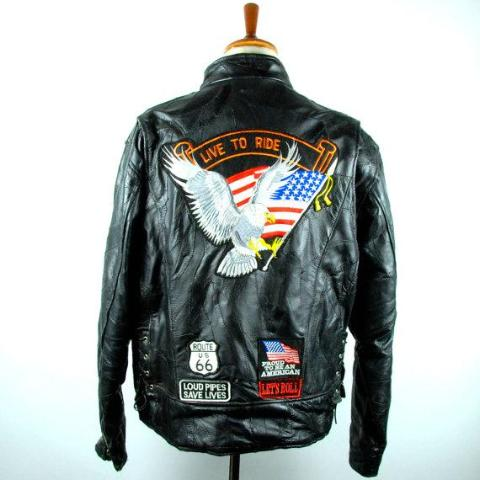 Diamond Plate Buffalo Leather Black Motorcycle Jacket with Great Patches! Size Large