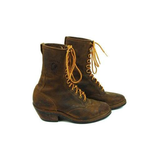 Dark Brown Justin Chippewa Lace Up Packer Boots with Kiltie, Vibram Sole, Men's Size 9.5 D - Desert Moss