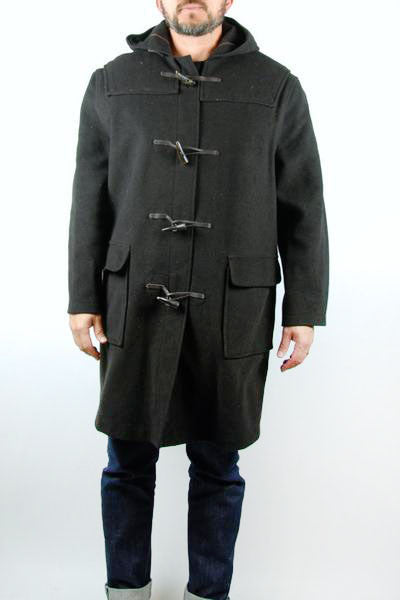 Gloverall Duffle Coat with Hood and Antler Toggles, Men's Size 44, Made in England