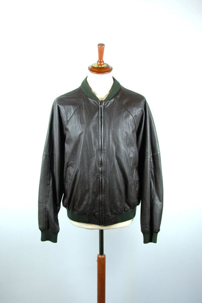 1970's REMY Brown Leather Jacket, Size 44, Remy Bomber Fashion Jacket, Remy Lambskin Jacket