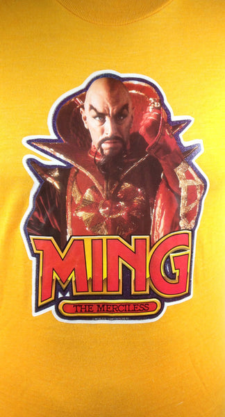 1980 Ming the Merciless T-Shirt, Size Medium, Screen Stars, 50/50 Polyester/Cotton - Desert Moss