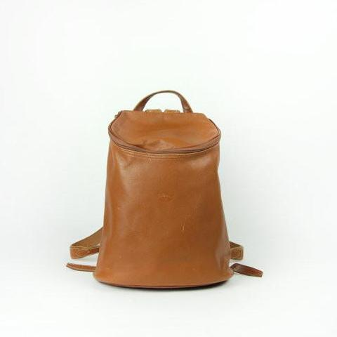 LONGCHAMP Pebble Grain Brown Leather Bucket Backpack // Leather Purse // Shoulder Bag