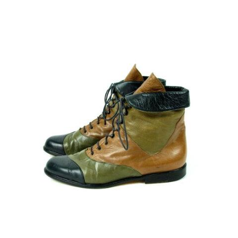 Tri Colorway Leather Ankle Boots by Everybody from Gianni Ziliotto, Women's Size 40 || Green, Brown, Black Boots - Desert Moss