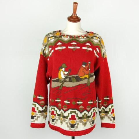 Vintage Red Canoe Sweater || Canoeist || Kayak Jumper