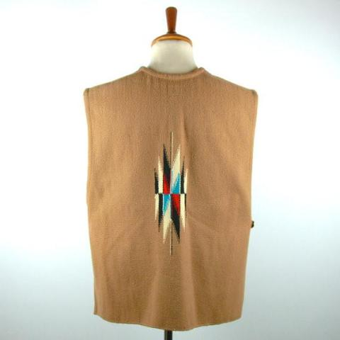 1930's/1940's Ortegas Chimayo Wool Vest with Sliver Buffalo Nickel Buttons, 100% Hand Loomed Wool - Desert Moss