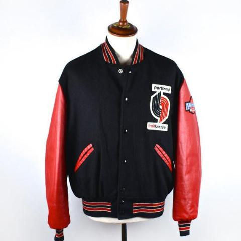 1980's Portland Trail Blazers Wool Letterman Jacket by DeLong, Men's Size 44