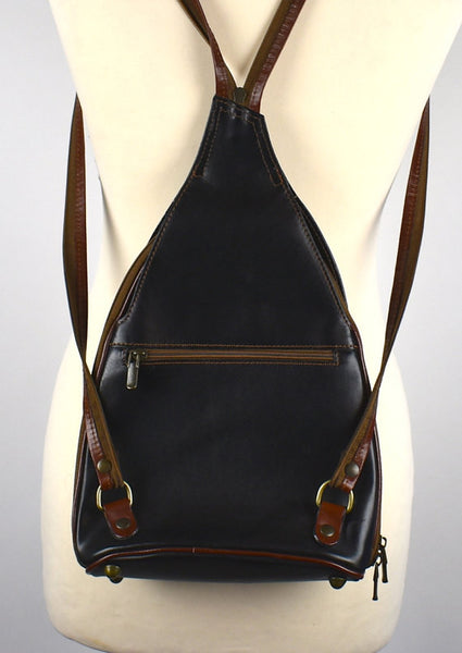 Compact Leather Backpack, Made in Italy, Leather Sling Pack, Shoulder Bag