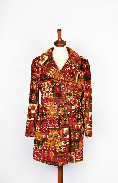 1960's Bohemian Mod Chenille Swing Coat - Junior Petite by Preen