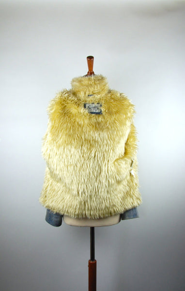 Powder Blue Leather Jacket with Faux Fur by Scully, Distressed Leather Look - Desert Moss