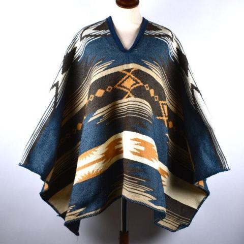 Poncho with Ethnic Detail - Desert Moss