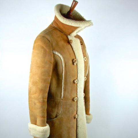 Shearling Doublebreasted Spy Coat by Montreal Leather Garment Company - Montreal, Quebec CANADA / Shearling Trench Coat