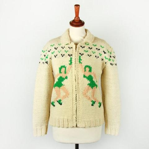 Vintage Hand Knit Cowichan Cardigan with Figure Skaters