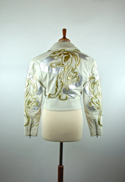Golden Tiger Biker Jacket, North Beach by Michael Hoban, Size 3/4