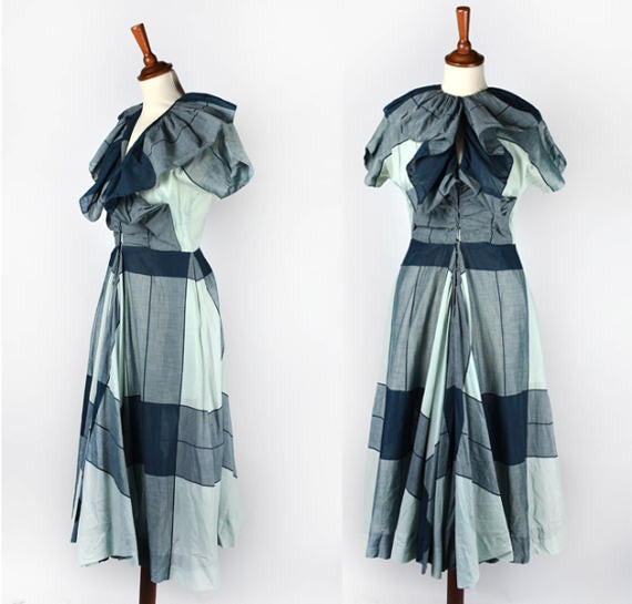 Claire McCardell Clothes by Townley Dress, a Hope Skillman Fabric || Green Dress with Ruffled Collar and Full Skirt