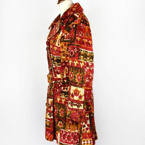 1960's Bohemian Mod Chenille Swing Coat - Junior Petite by Preen, Belted Carpet Coat, Tapestry Coat with Belt - Desert Moss