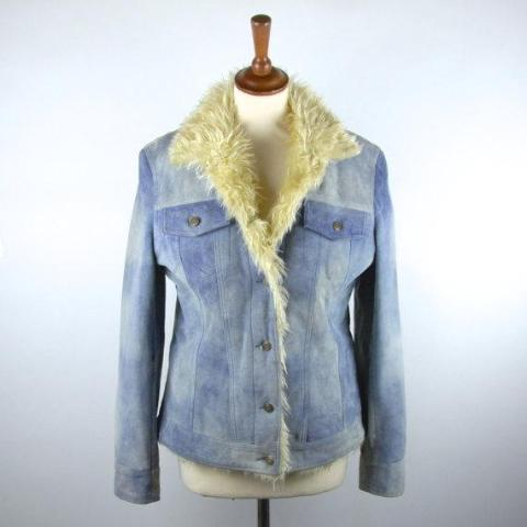 Powder Blue Leather Jacket with Faux Fur by Scully, Distressed Leather Look