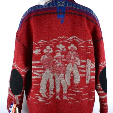 DEADSTOCK Pioneer Wear Wool Blend with Cowboy Motif, Medium, Made in the USA - Desert Moss