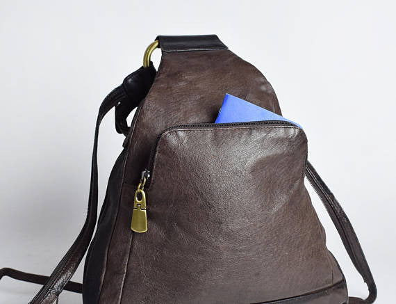 Brown & Black Supple Leather Convertible Backpack || Leather Purse - Desert Moss