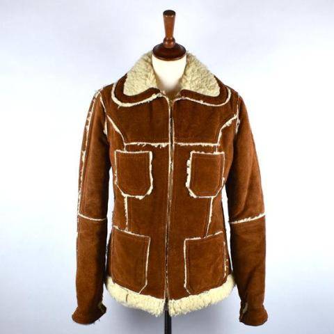 Rusty Suede and Shearling Jacket / Heavy Duty Warmth / Rugged Jacket - Desert Moss