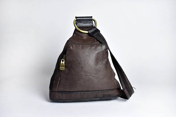 Brown & Black Supple Leather Convertible Backpack || Leather Purse