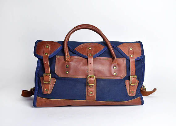 Canvas and Leather Luggage Travel Bag || Carry On Bag with Lee Maynard Stamp - Desert Moss