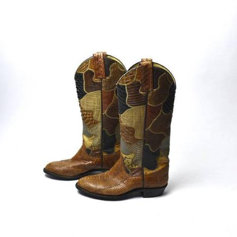 AMAZING Vintage Patchwork Snakeskin Boots - Desert Moss