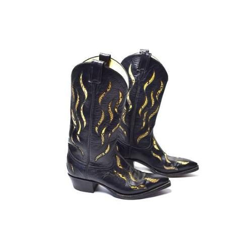 Snakeskin and Leather Cowgirl Boots by Remington Boot Company - Desert Moss