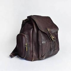 Vintage Large Brown Leather Wilson's Backpack - Desert Moss
